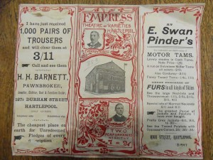 Empress Theatre of Varieties program, 15 October 1906 (outside) - From the Tyne and Wear Archives