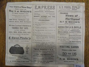 Empress Theatre of Varieties program, 15 October 1906 (inside) - From the Tyne and Wear Archives