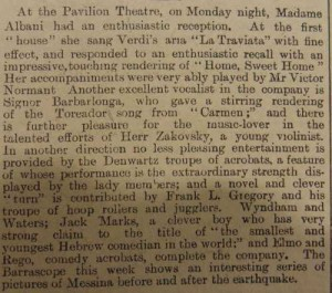Frank L Gregory Troupe Article in Newcastle Weekly Journal and Courant Jan 23 1909 - From Newcastle City Library