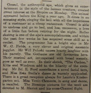 WC Fields at the Newcastle Empire - Newcastle Weekly Journal and Courant August 21 1909 Article - From Newcastle City Library