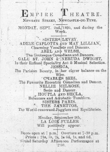 The Zanettos at Newcastle Empire 31 August 1895 - Gateshead Guardian Advert