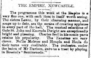 The Zanettos at Newcastle Empire 7 Sept 1895 - Gateshead Guardian article