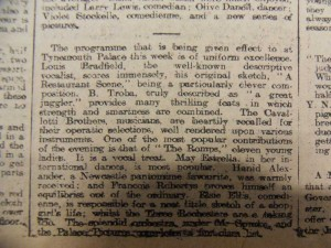 Troba at the Tynemouth Palace Article - From Newcastle City Library