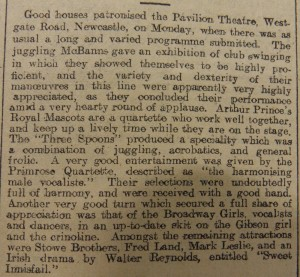 The Juggling McBanns at the Pavillion, Newcastle Weekly Journal & Courant Article 6 Feb 1909 - From Newcastle City Library